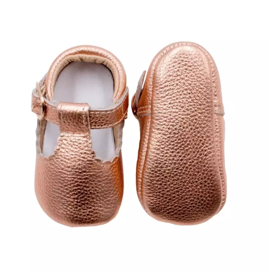 Rose Gold Leather Baby Moccasins Shoes with Buckled Strap