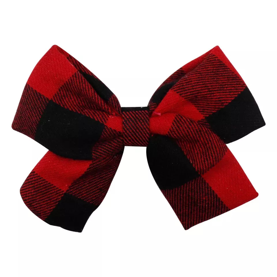 Handmade Non-Slip Hair Clips - Red and Black Buffalo Plaid Bow