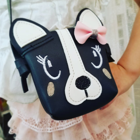 Accessories - Leatherette Purse for Kids, Black & White Frenchie Bulldog