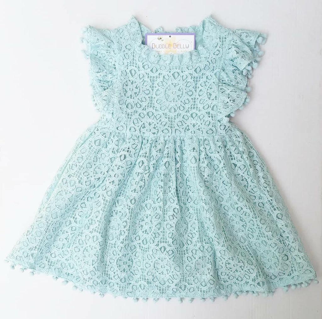 blue lace and pompom dress, little girls wedding attire