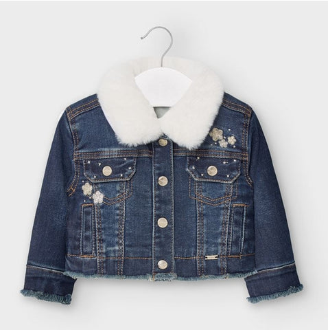 2405 Mayoral Girls Dark Wash Denim Jacket w/Faux Fur