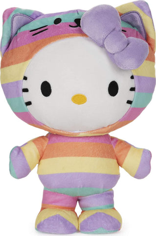 Gund Official Hello Kitty Plush in Rainbow Cat Outfit, 9.5""