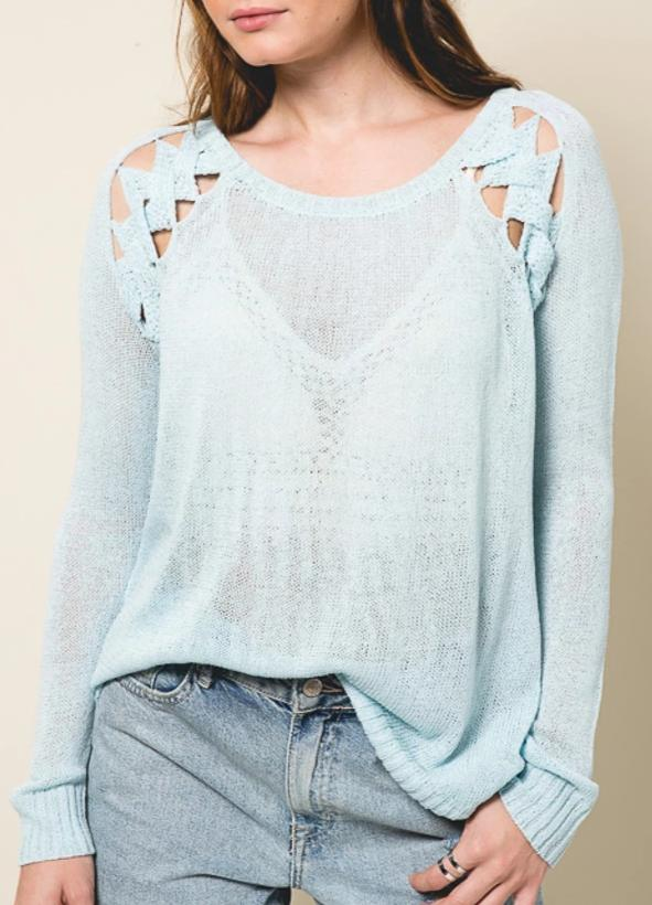 Ladies Knit Sweater, Lace Spine, Open Work, Pale Blue