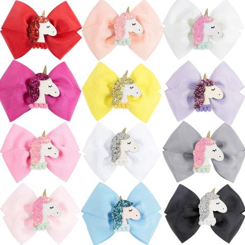 "Handmade Non-Slip Hair Clips - 5"" XL Grosgrain Bows with Unicorn - (CLICK FOR OPTIONS)"