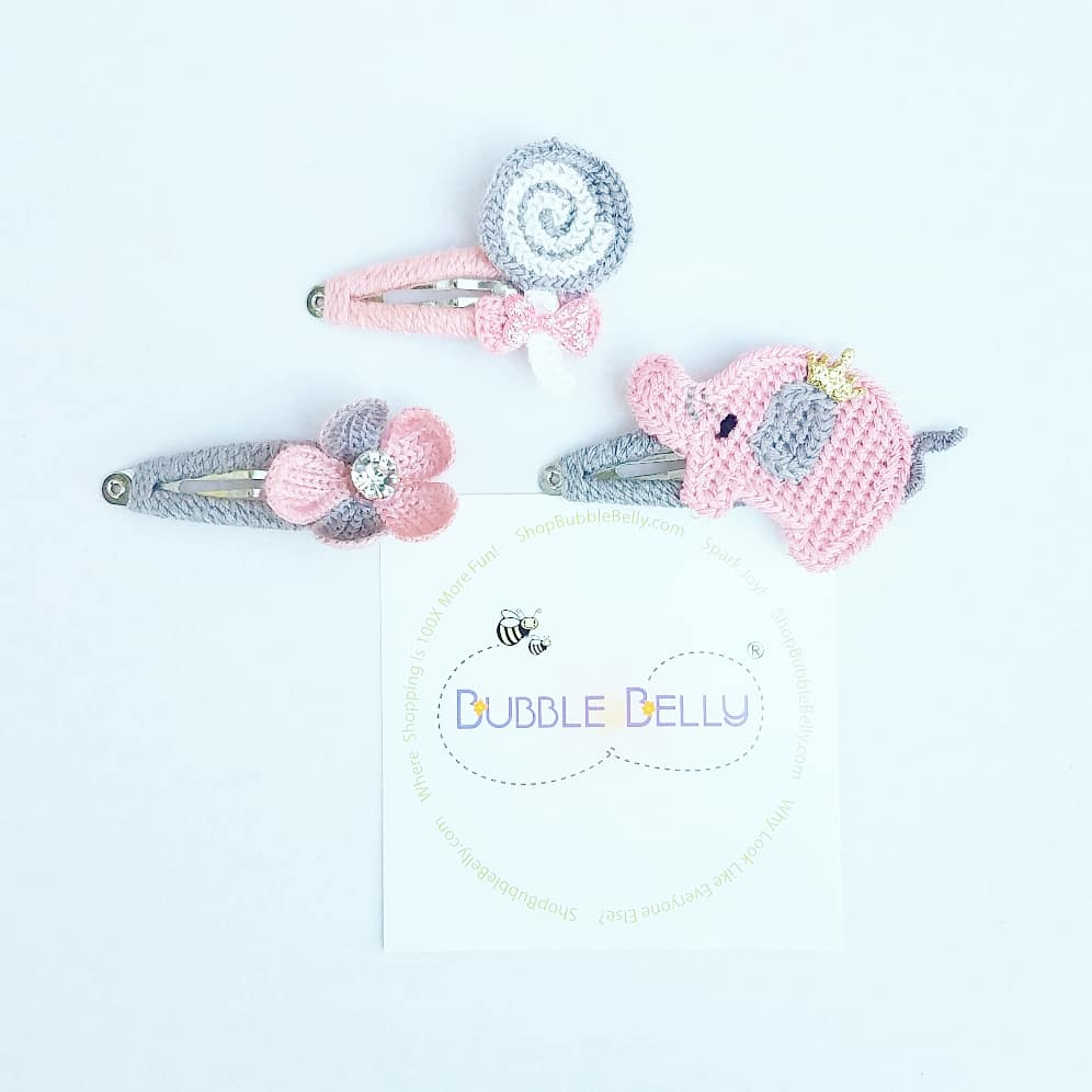 Handmade Non-Slip Hair Clips - Crochet Pink and Grey Miscellanous Shapes Flower w/ jewel center, pink elephant, gray and white lollipop