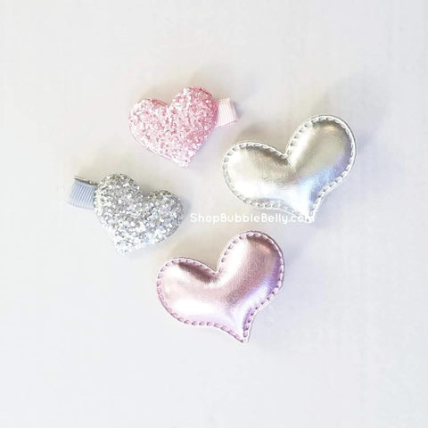 Handmade Non-Slip Hair Clips - Metallic Glitter Heart Hair Accessories