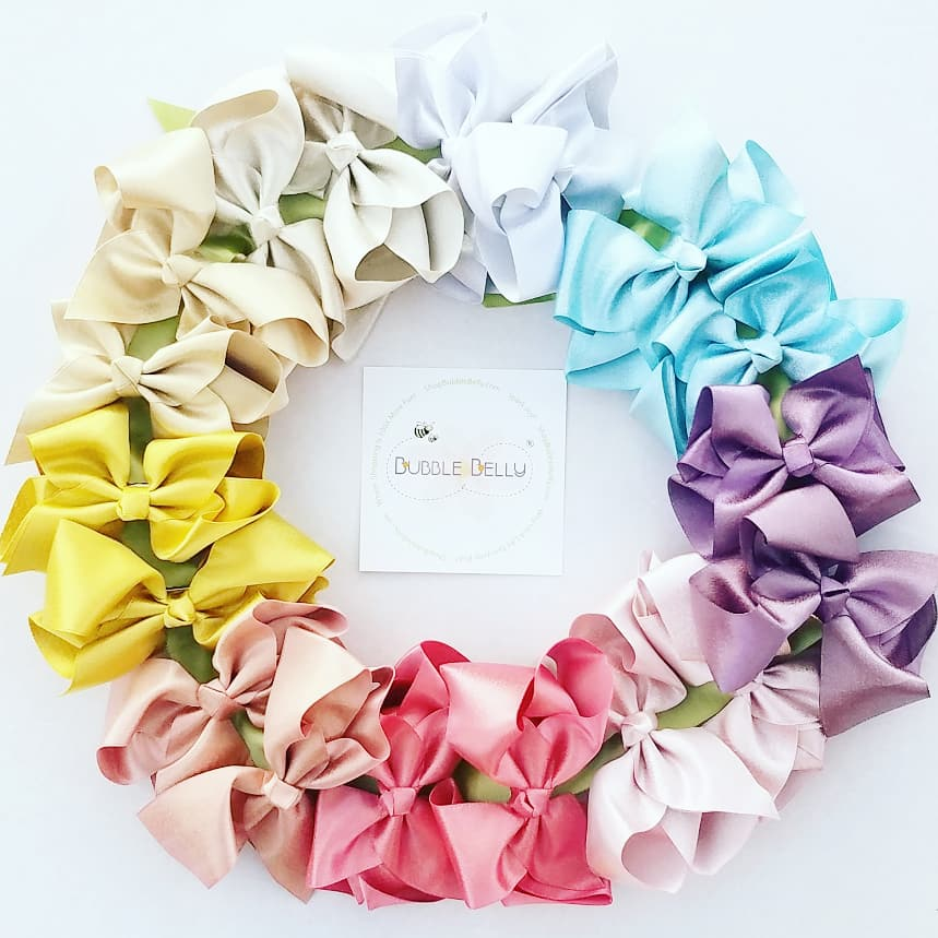 "3"" Hair bows, Glitter/matte, different colors, for kids"