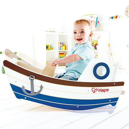 toddler rocking toy, sustainable wooden ride-on boat, hape germany high seas