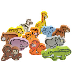 Hape - Qube Little Wooden Wild Animals, 12 PCS