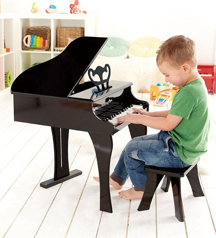 Hape Wooden Baby Grand Piano Classic Black Bubble Belly Moms