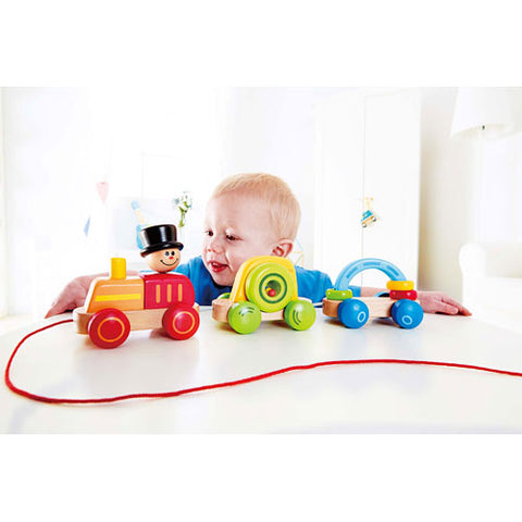 Hape Germany Wooden Triple Play Pull Train Set