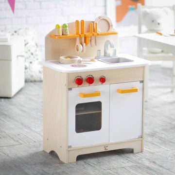 wooden play kitchen for kids, sustainable, chef's kitchen
