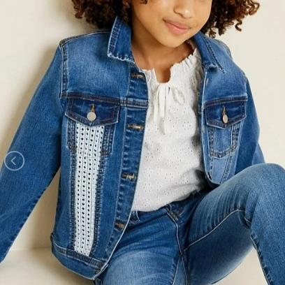 Hayden G7222 Light Denim Jacket, Crochet, jacket on girl, live photo