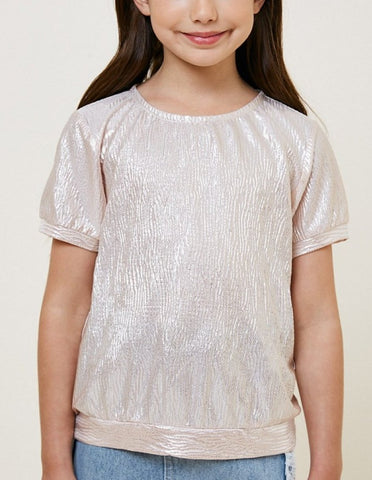 Tween/Teen Girls Banded Metallic Shirt, S/S, Lt Pink