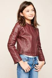Tween/Teen Girls Leatherette Jacket - Burgundy