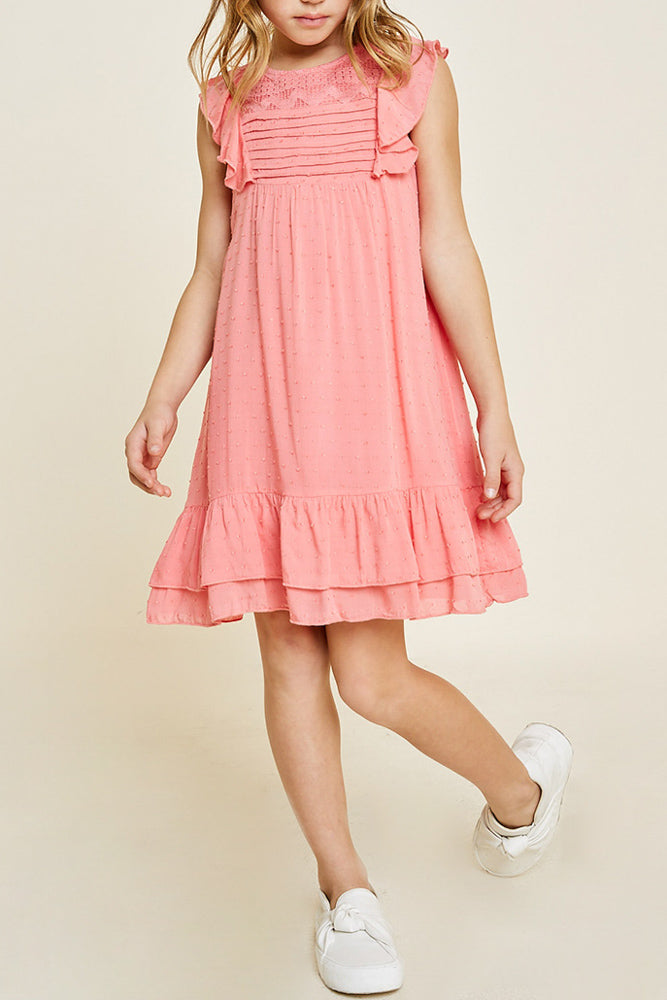 Girls A-Line Dobby Flutter Sleeve Dress, Coral Pink