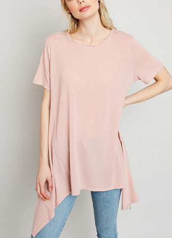 Ladies Raw Edge Asymmetric Tunic - Pale Pink