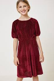 Tween/Teen Girls Sparkly Deep Red Glitter Dress