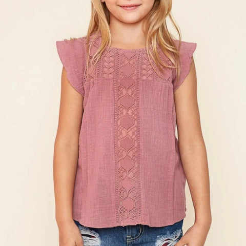 Hayden G3577 Mauve Dusty Rose Crochet Lace Flutter Top