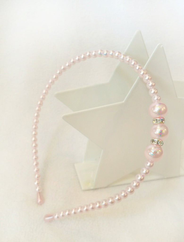 Headband - Pearls & Rhinestones, Full Headband (IVORY OR LIGHT PINK)