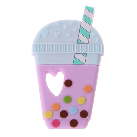Chew/Teething Accessory - Boba Tea Silicone Chew & Teething Toy, Lavender Boba Cup