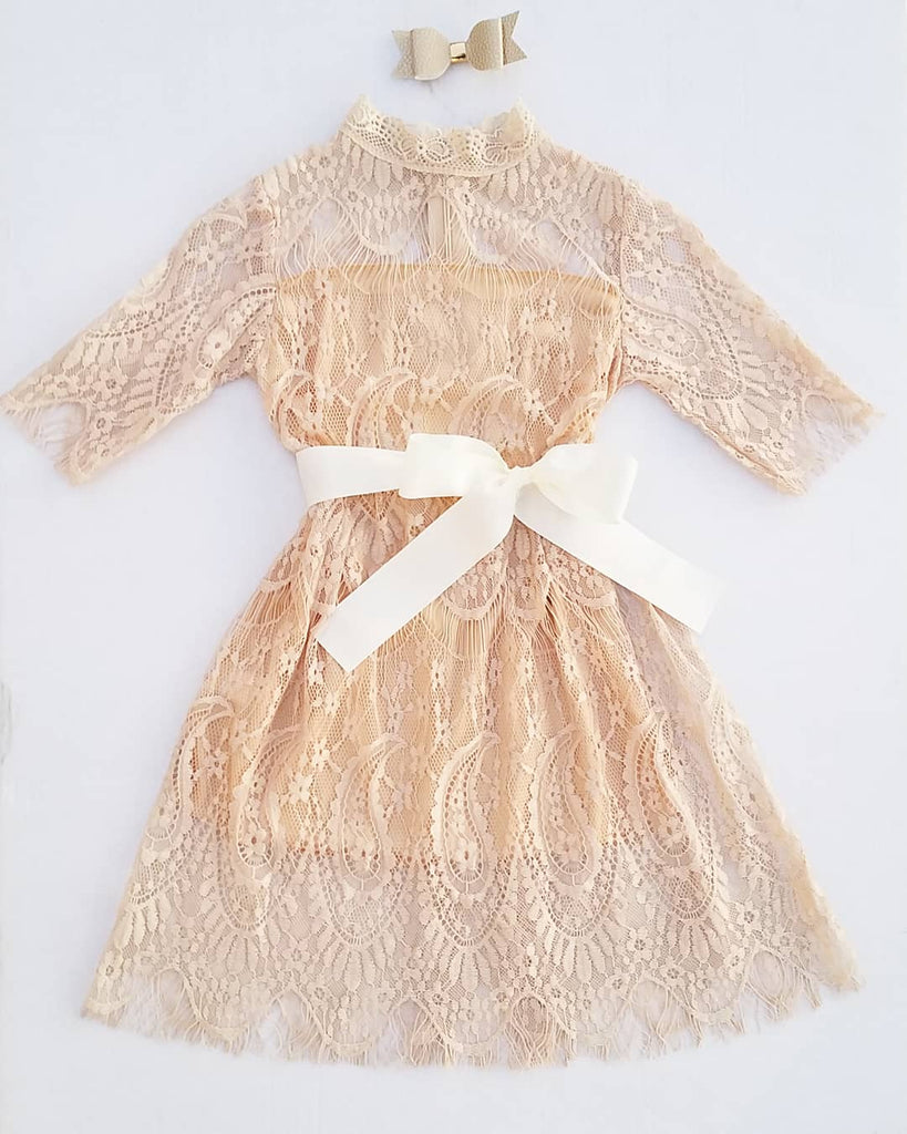 L3 vintage lace high collared formal girls dress, flower girl, champagne