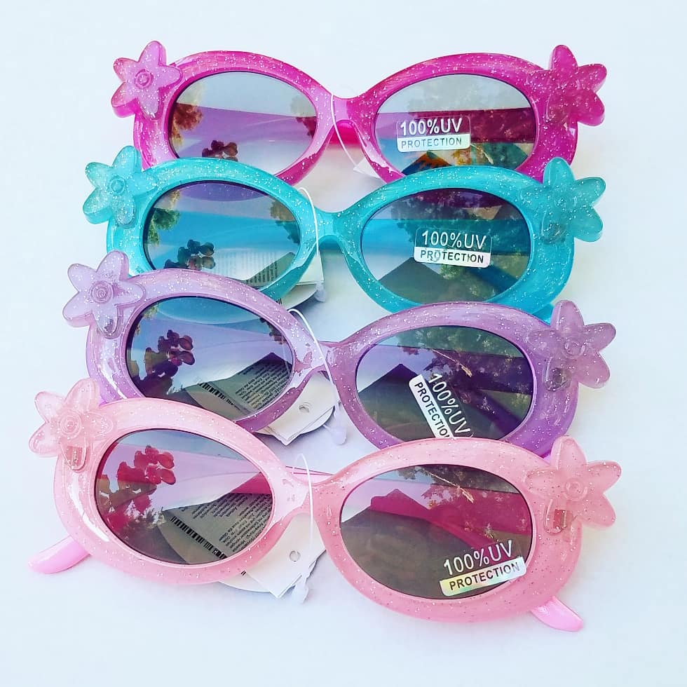 kids oval sunglasses with flower, plastic frames for toddlers, uv protection