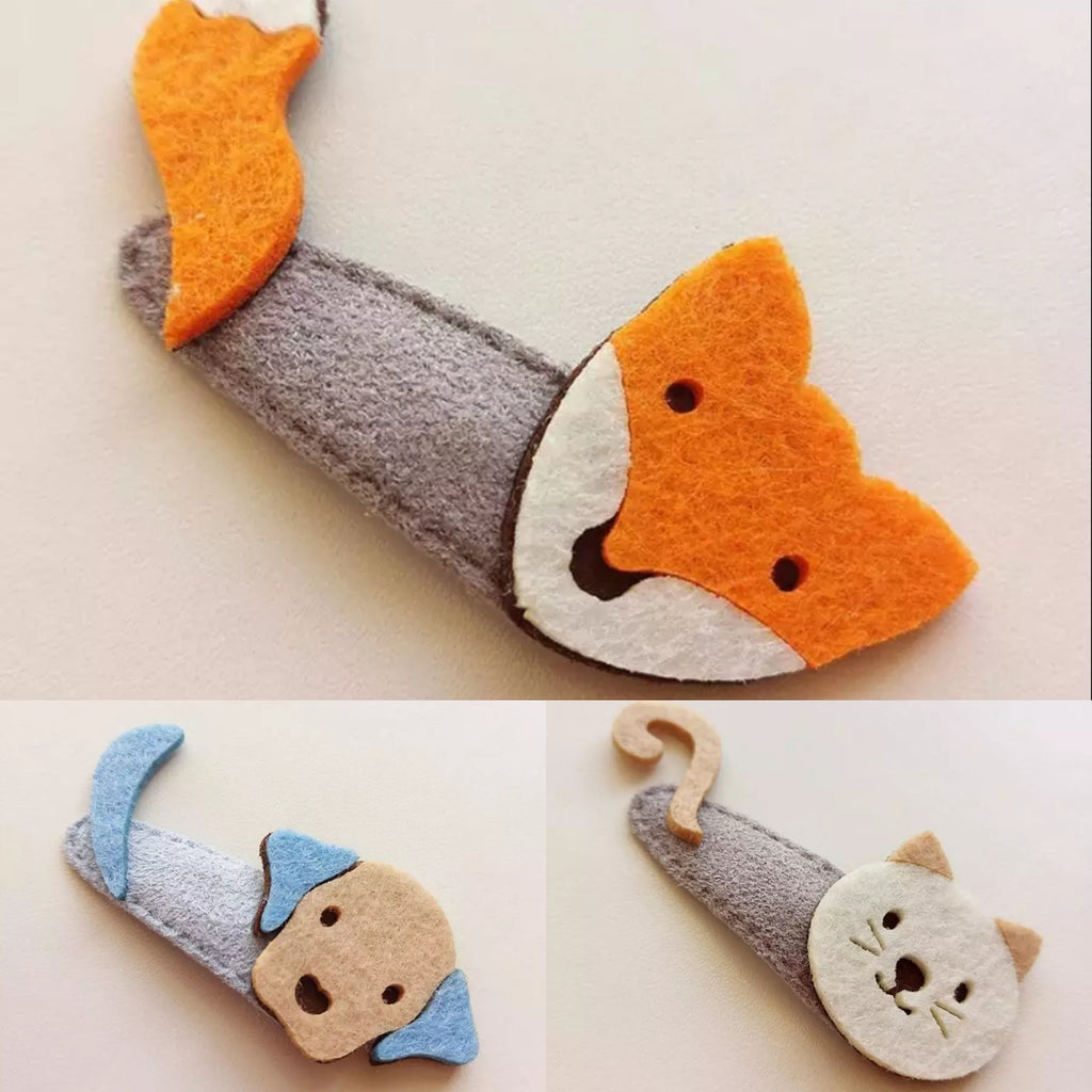 woodland themed animals handmade hair clips, nonslip, puppy, fox, cat