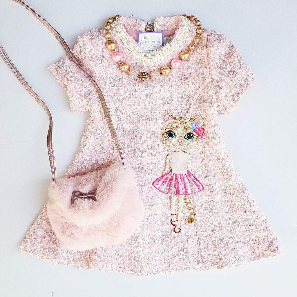 Pink classic Chanel inspired boucle dress, kitty cat applique, holiday
