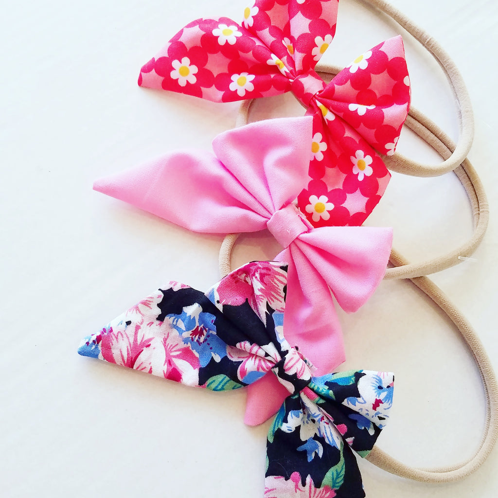 Handmade Nylon Stretch Girls Headbands, Fabric Bows