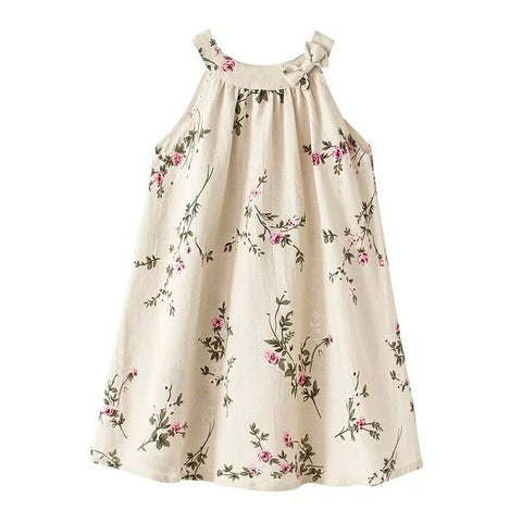 A-Line Cotton Linen Garden Rose Dress, Natural