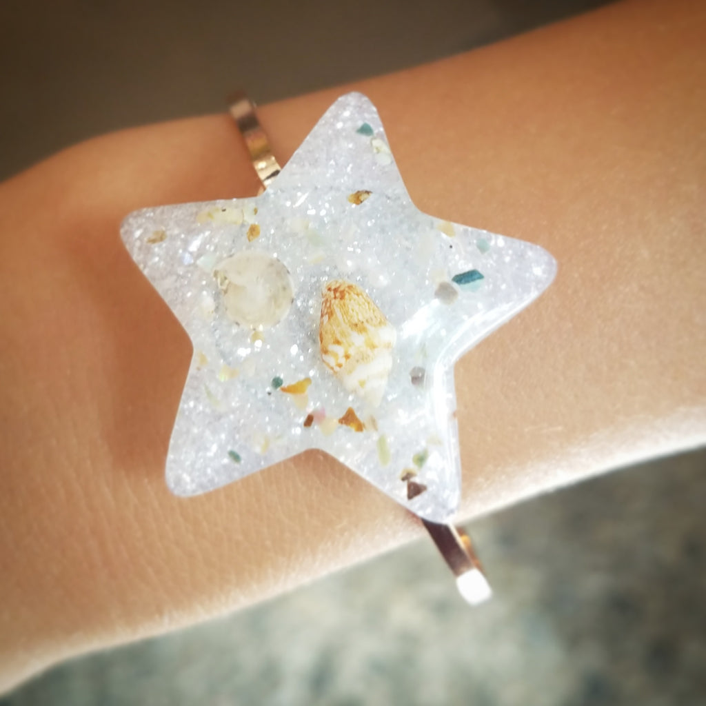 Rose Gold Plated Bangle, Ocean is Life Star