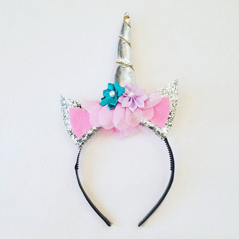 Handmade Hair Accessories - Silver Unicorn Headband