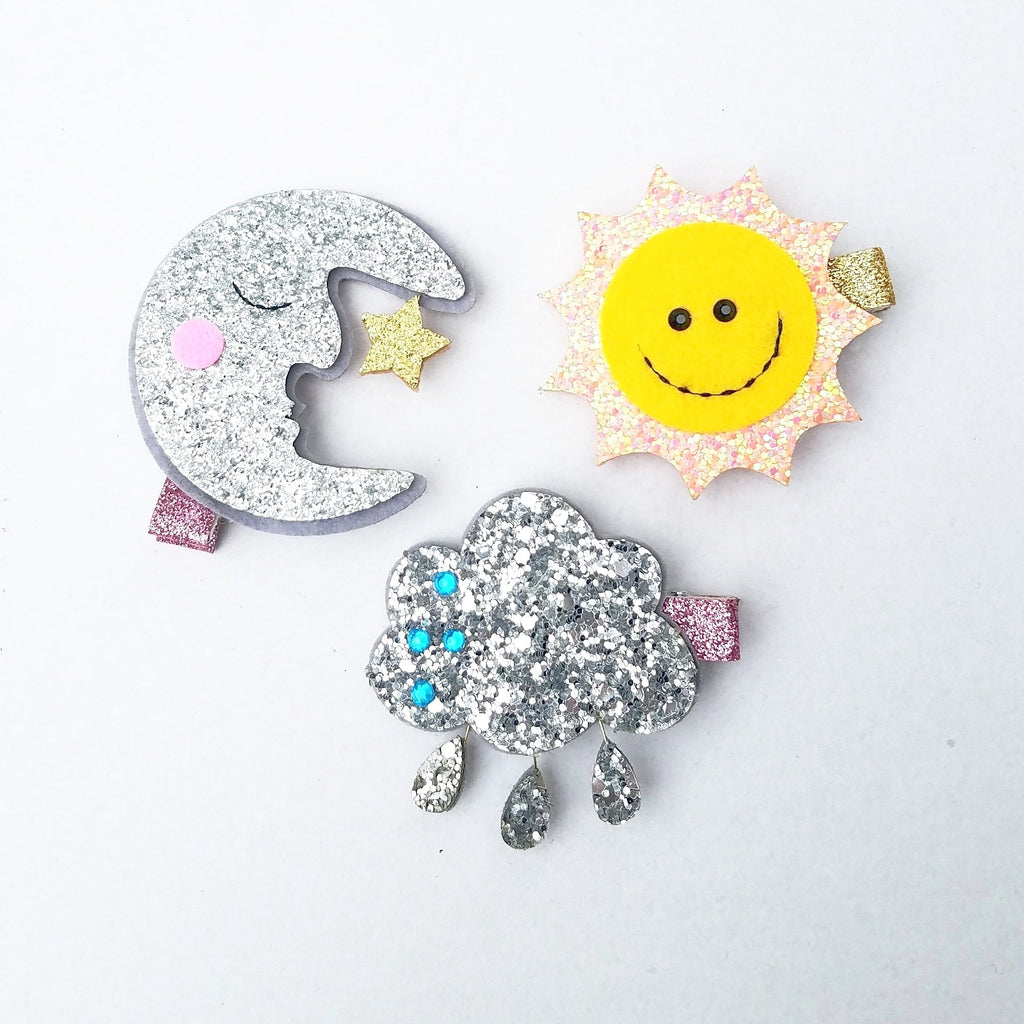 Handmade Non-Slip Hair Clips - How's the Weather - (CLICK FOR OPTIONS)