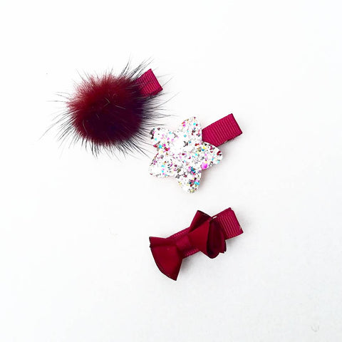 Handmade Non-Slip Hair Clips - Holiday Ready Reds - (CLICK FOR MORE OPTIONS)