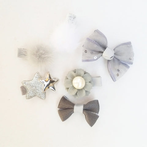 Handmade Non-Slip Hair Clips - Grey & Silver - (CLICK FOR MORE OPTIONS)
