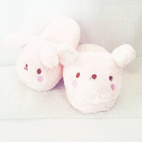 Bunny Plush House Slippers, Pink, One Size