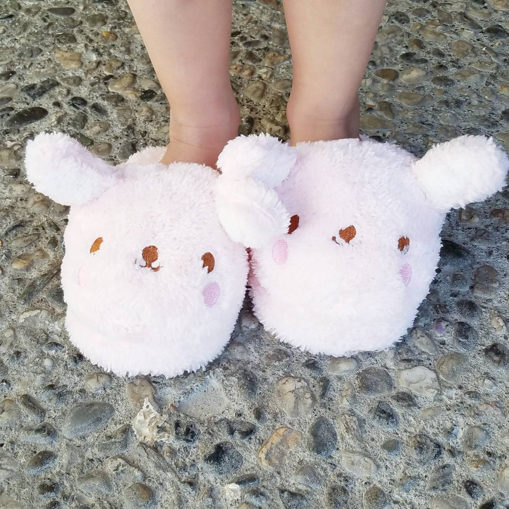 soft girls fluffy pink slippers, bunny slippers, house shoes