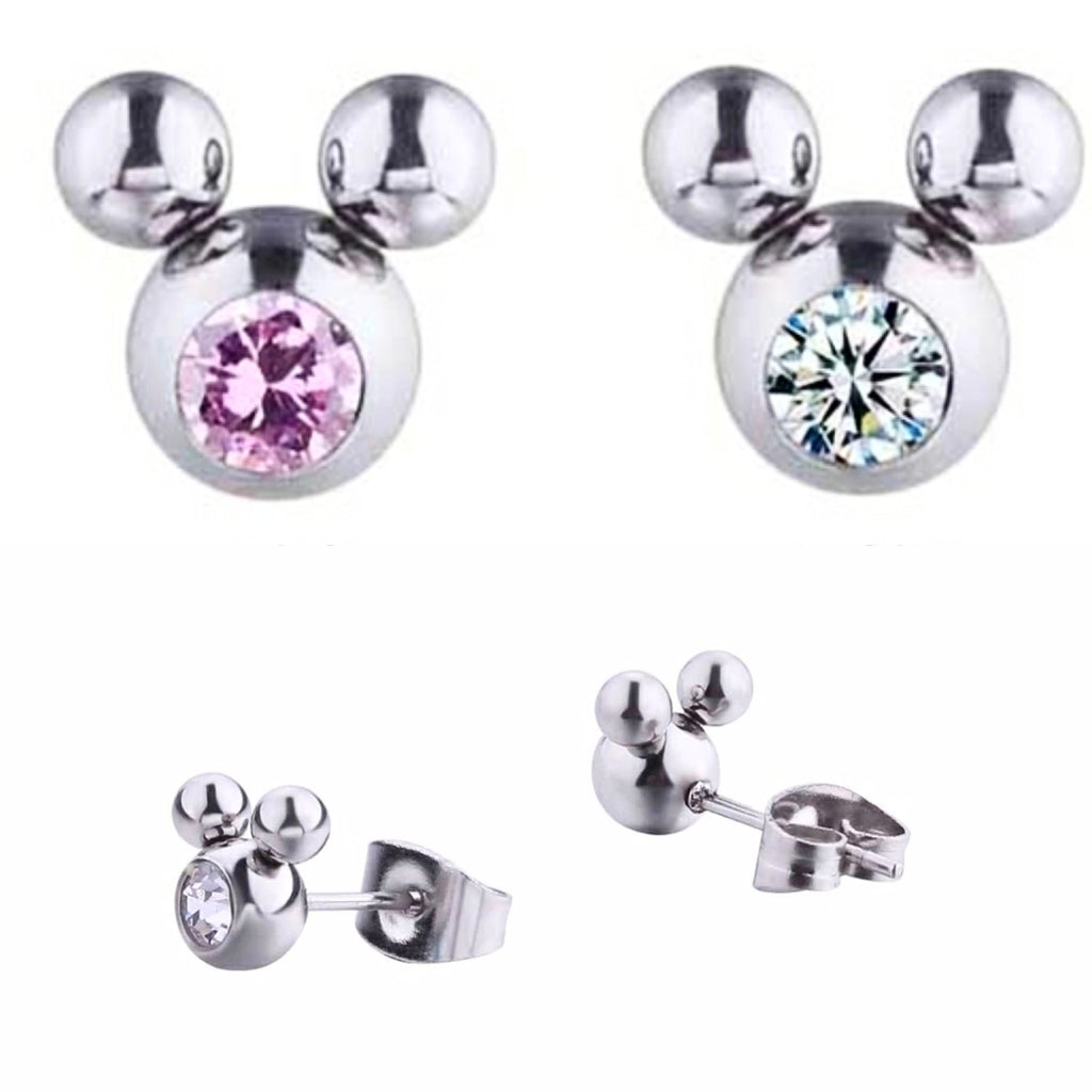 mickey mouse earrings, silver, stainless, rhinestone, pink crystal kids pierced earrings