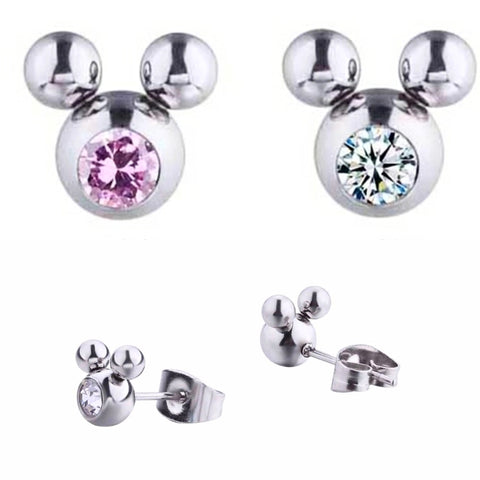 Crystal Mickey Earrings, Stainless & Crystals