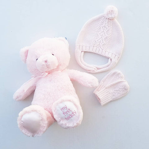 3 PC Gift Set, Cable Knit Pilot Hat, Mittens, & My 1st Teddy Bear, Blush Pink Set