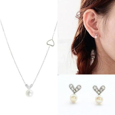 3 PC Gift Set:  Sterling Silver Pearl Heart Necklace & Earring Set