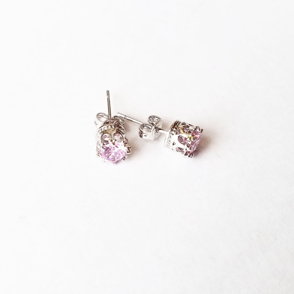 Crystals & Crown - Pierced Crown Earrings, Pink