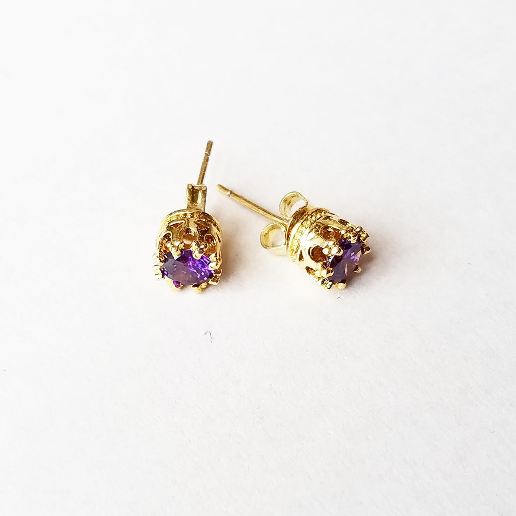 Crystals & Crown - Pierced Crown Earrings, Royal Purple
