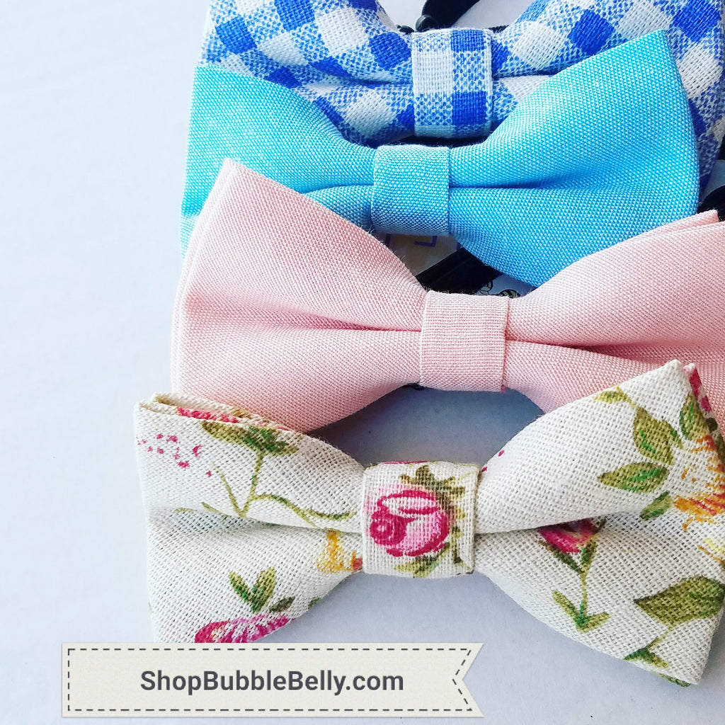 Little Boys Bow Ties, Vintage Floral and Linen for Spring Dress Up