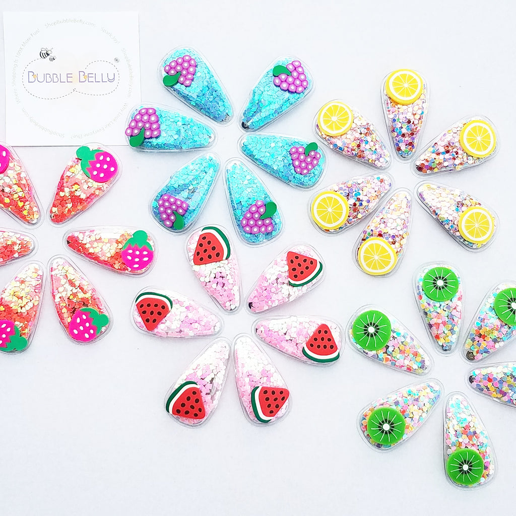 Kids snap hair clip, fruit and confetti summer accessories