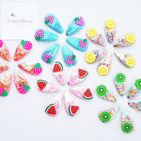 "2.75"" Snap Hair Clip, Handmade Non-Slip Juicy Confetti Fruits -  (CLICK FOR OPTIONS)"