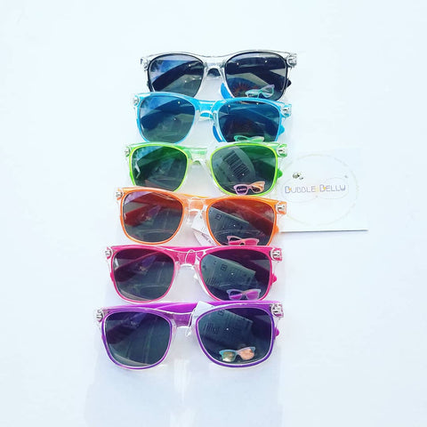 Kids Sunglasses, Classic Wayfarers, Clear Lucite Brights (CLICK FOR COLOR OPTIONS)