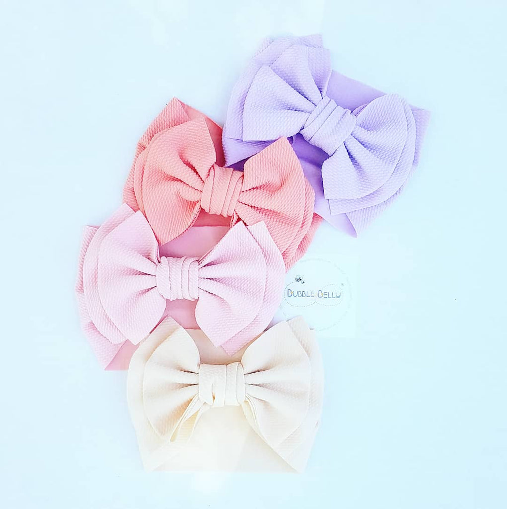 "extra large 7"" bow head wraps and headbands for babies and little girls, cream, pink, coral, lavender"