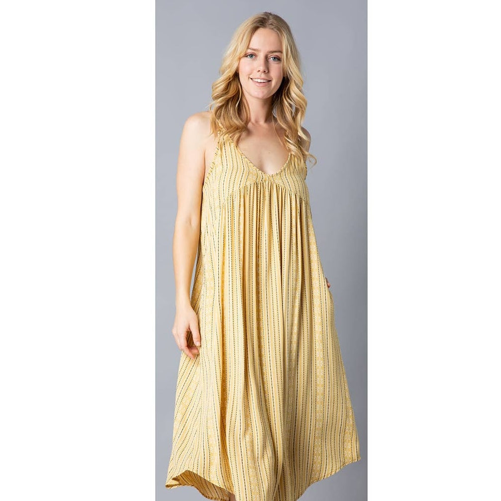 Ladies Sundress with Pockets, Mustard Print